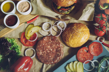 Ingredients for cooking burgers, flat lay style view, food background cooking concept
