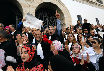 Lawyers demonstrate near the courthouse, in Tunis
