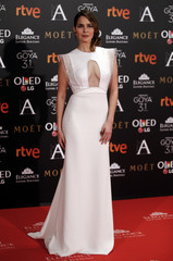 Sanchez poses on the red carpet before the Spanish Film Academy's Goya Awards ceremony in Madrid