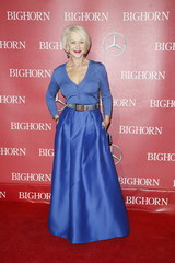 Actress Helen Mirren poses at the 27th Annual Palm Springs International Film Festival Awards Gala in Palm Springs