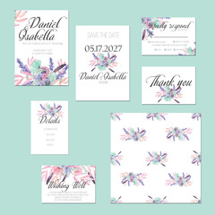 Template cards set with watercolor flower bouquets in pink and purple shades; wedding design for invitation, Save the date card, RSVP, Thank you card, Wishing Well card,  for anniversary day