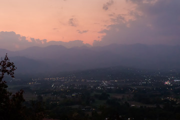 Sunset above Pai buddha temple