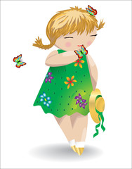 A girl with pigtails in a green dress with butterflies on her hair and on her palm, a hat in her hand