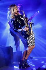 Dutch alto-saxophonist Candy Dulfer performs during the Jazzablanca World & Jazz Music Festival in Casablanca