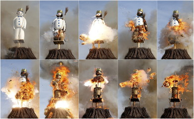 A combination of pictures shows the Boeoegg, a snowman made of wadding and filled with firecrackers, burning atop a bonfire in the Sechselaeuten square in Zurich