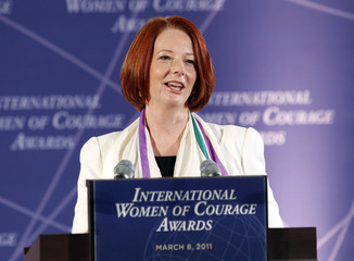 Australian PM Julia Gillard addresses the International Women of Courage Awards Ceremony at the State Department in Washington