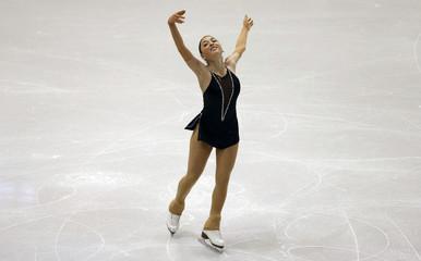 Elene Gedevanishvili of Georgia skates her short program at Skate America 2013 in Detroit