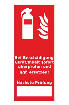 Feuerlöscher - Hinweis