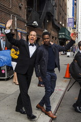 """Comedians Jerry Seinfeld and Chris Rock depart Ed Sullivan Theater in Manhattan after taking part in the taping of tonight's final edition of """"The Late Show"""" with David Letterman in New York"""