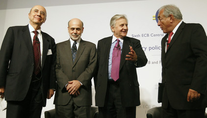 Chairman of US Federal Reserve Board Bernanke Brazilian Central Bank Governor Mereilles ECB President Trichet and IMF Managing Director Strauss-Kahn attend Central Banking conference in Frankfurt