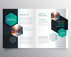 bifold business brochure or magazine cover page design with hexagonal shape vector template