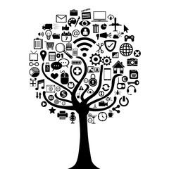 smart tree with icons vector illustration design