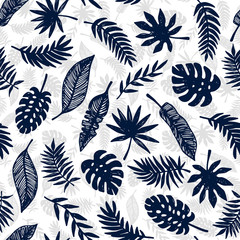Tropical Leaves seamless pattern, modern hand drawn nature foliage