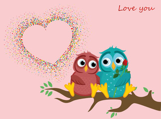 pair of owls in love. Vector. Colorful confetti in the form of hearts