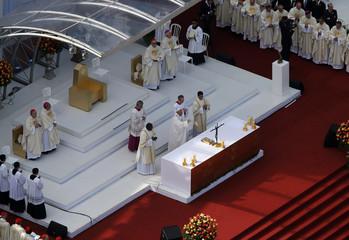Pope Francis delivers his final mass on Copacabana Beach in Rio de Janeiro