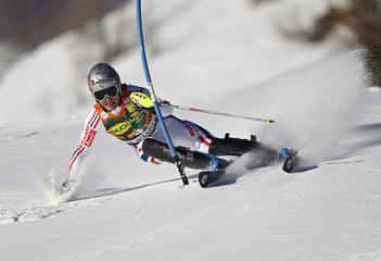 Julien Lizeroux of France skis during the first leg in the men's World Cup Slalom skiing race in Val d'Isere