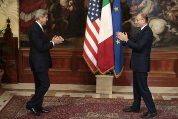Italy's PM Letta welcomes U.S. Secretary of State John Kerry during a meeting in Rome