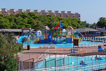 above view on outdoor aquapark