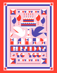 Happy birthday greeting card with cake and candles, balloons and garlands. Flat style vector birthday party invitation with geometric lettering