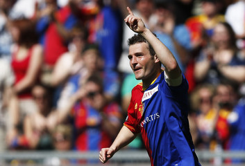 FC Basel's Frei celebrates after scoring a goal against FC Zurich during their Swiss Super League soccer match in Basel
