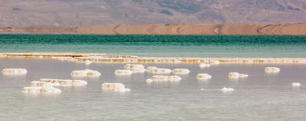 Salt island on the surface of the Dead sea - Israel