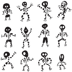 Fun Hand Drawn Cartoon Skeleton Vectors