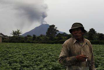 A man smokes a cigarette as he visits his farm during midday as Mount Sinabung spews ash in the background at Sukandebi village