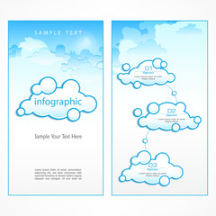 Clouds infographic, communication symbol with text in blue.
