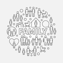 Family minimal round illustration
