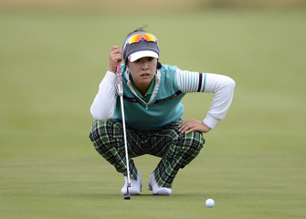Haeji Kang of South Korea lines up her putt on the 18th hole during the British Women's Open Golf tournament at Royal Liverpool Golf Club