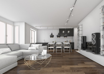 3d rendering scandinavian living room and kitchen