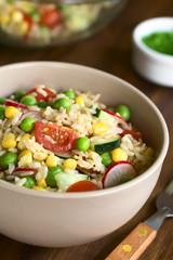 Bunter Vollkornreissalat mit Kirschtomaten, Mais, Gurke, Radieschen und Erbsen serviert in Schüssel, fotografiert mit natürlichem Licht (Selektiver Fokus, Fokus in die Mitte des Salats)