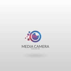 Camera logo. Multicolored camera logo