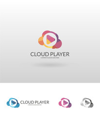 Cloud player. Polygonal cloud player logotype