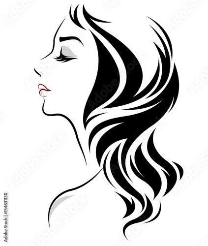 Women Long Hair Style Icon Logo Women On White Background Stock