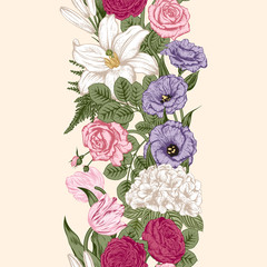 Seamless border. Bouquet of flowers. Vector illustration.