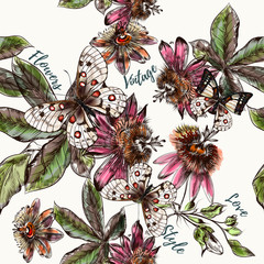 Beautiful botanical pattern with ahnd drawn vintage flowers