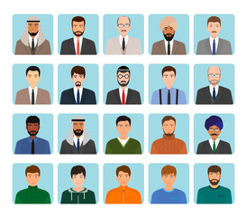 Avatars characters set of different kind men. Business, elegant and sports male people icons faces.