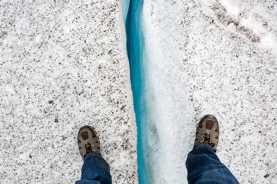 """""""Mind the gap""""  Standing over an Ice crevice from above"""