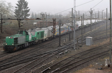 A train convoy carrying CASTOR containers, which contains radioactive nuclear waste, passes Forbach