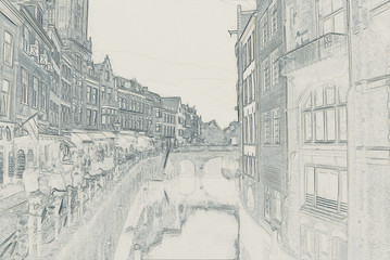 Utrecht city sketch illustration. Abstract modern architecture