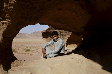 "Jacir Eid, one of the cast members of Jordanian movie ""Theeb"" (Wolf), poses for a photo in Wadi Rum, Jordan"