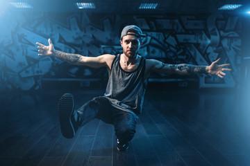 Hip hop performance, cool dance in studio