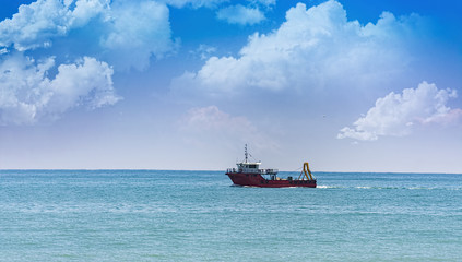 Fishing boat  ,blue sky and sea