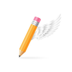 Thick pencil with white wing. Creation and imagination concept.