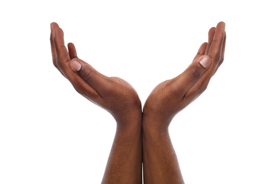 Black male hands keeping in cupped shape, cutout