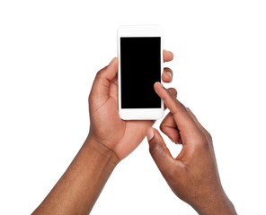 Male hands pointing on blank mobile phone screen