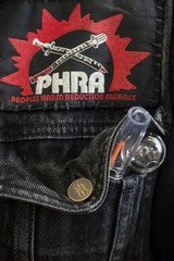 Samples of pipes for crack cocaine and methamphetamine use sit inside the jacket pocket of Murphy, executive director of the People's Harm Reduction Alliance, the nation's largest needle-exchange program, in Seattle, Washington