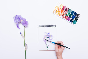 Top view of a female hand drawing a blue flower in a notepad with watercolors