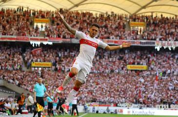 VfB Stuttgart's Matthias Zimmermann celebrates scoring their first goal
